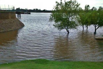 El río Uruguay creció y volvió a tapar playa Los Sauces