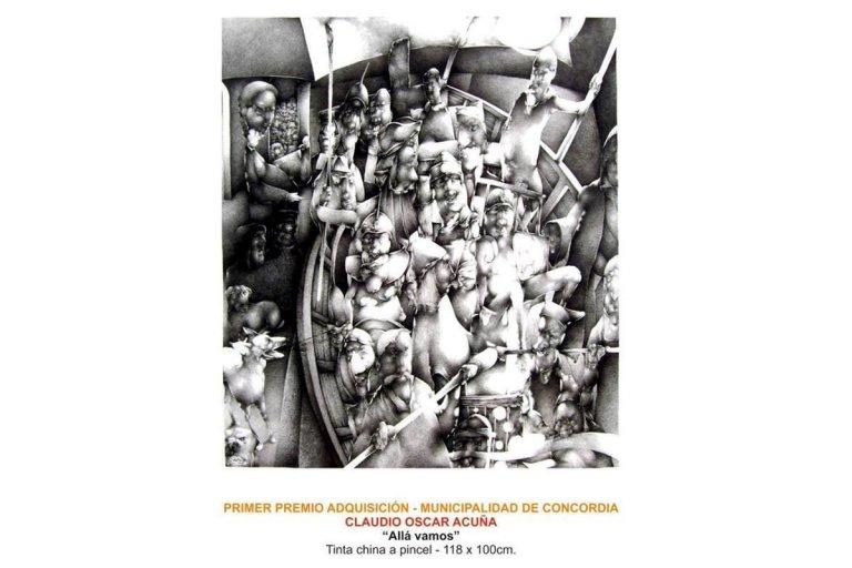 """Primer Premio Adquisición es para """"Allá vamos"""", de Claudio Oscar Acuña."""