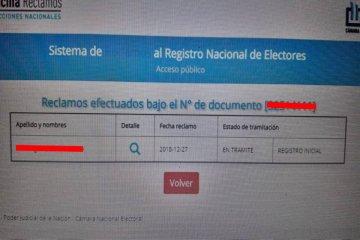 Hubo más de 20 mil reclamos por errores en el padrón electoral