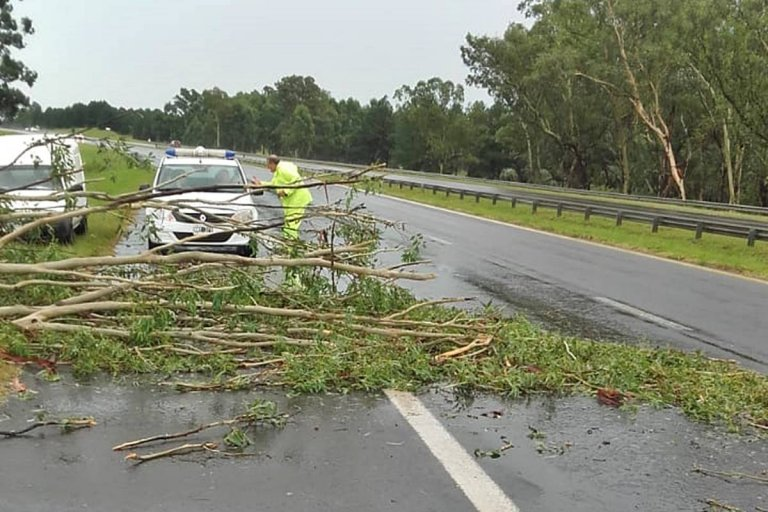 La tormenta también se sintió en la ruta nacional 14