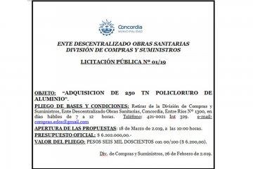 """EDOS: Licitación """"Adquisición de 250 tn Policloruro de Aluminio"""""""