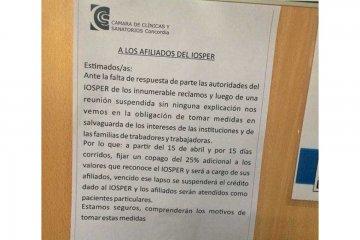 """IOSPER afirma que no puede aceptar """"que cinco sanatorios de Concordia pretendan manejar"""" las prestaciones"""