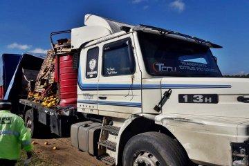 Dos camiones cargados con frutas colisionaron en el ingreso a Concordia