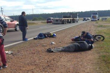 Motociclistas sufrieron un accidente en la autovía 14