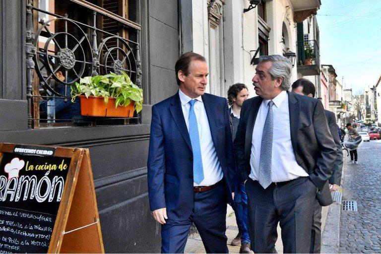 Bordet y Alberto Fernández, en un distendido encuentro donde se habló de todo.