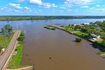 DRONE: La crecida del río Uruguay en la desembocadura del Manzores