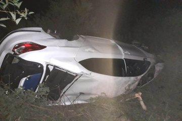 RUTA 14: Despistó y volcó su auto cuando circulaba con su hija de un año