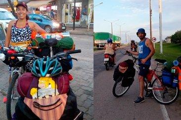 Una pareja entrerriana emprendió un viaje en bicicleta hacia Brasil