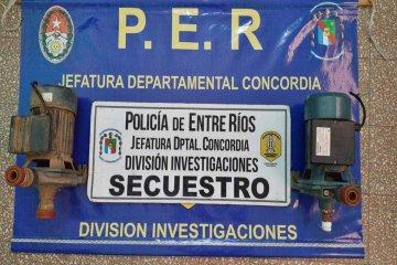 Las bombas de agua robadas en escuelas concordienses fueron recuperadas