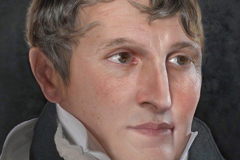 El rostro del prócer fue reconstruido a partir de una extensa investigación.
