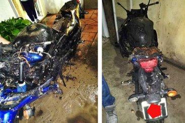 Una moto tuvo un desperfecto eléctrico y terminó incendiando un quincho