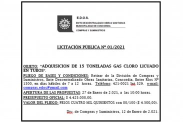 EDOS: Adquisición de 15 Toneladas de Gas Cloro Licuado en tubos
