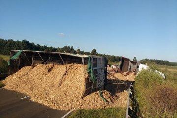 Un camión cargado con aserrín volcó en el ingreso a Federación